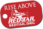Inspirational red metal dog tag features the Six Guiding Principles of the CAF Red Tail Squadron,