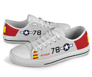 "P-51B ""Kitten"" of Brigadier General Charles McGee Low Top Canvas Shoes"