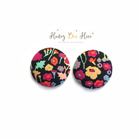 Black Multi Flower Print Earrings