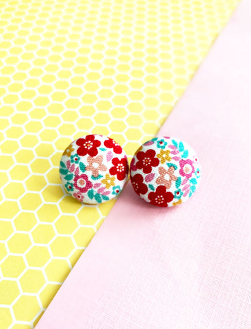 White Multi Flower Print Earrings
