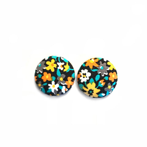 Black Multi Floral Print Earrings