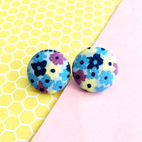 Light Blue Flower Print Earrings