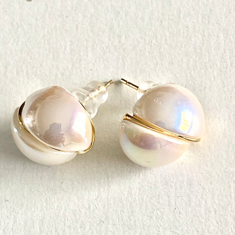 Split Pearl Stud Earrings