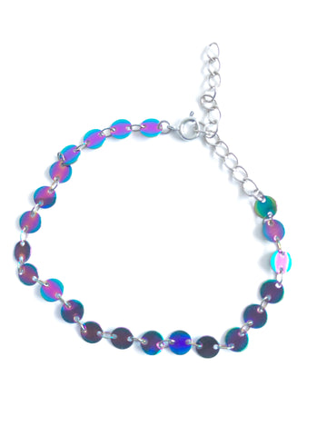 Multicolored Chrome finish circle chain bracelet