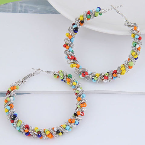 Twisted Beads Hoops