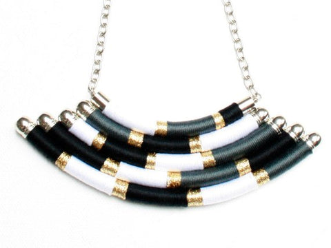Black/white/gold thread wrapped multi-strand necklace