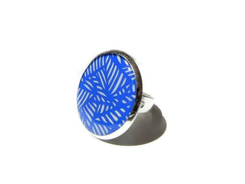 Abstract Print Blue Ring