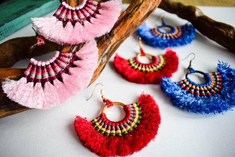 Macrame Ethnic Super Fringe Hoop Earrings
