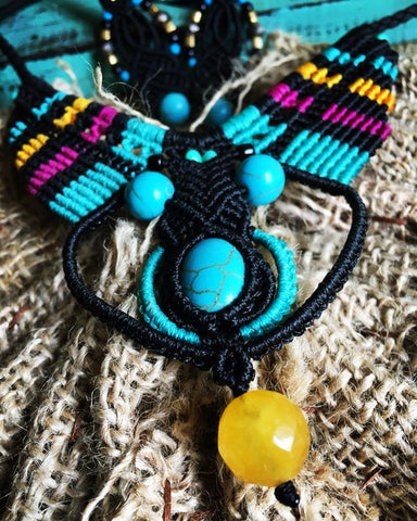 OOAK Ethnic macrame tribal necklace and earrings