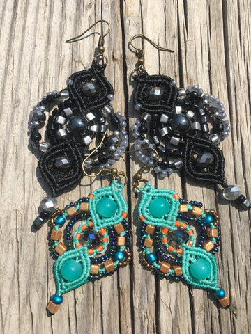Macrame Ethnic Design Beaded Earrings
