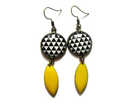 Abstract Print Enamel Earrings
