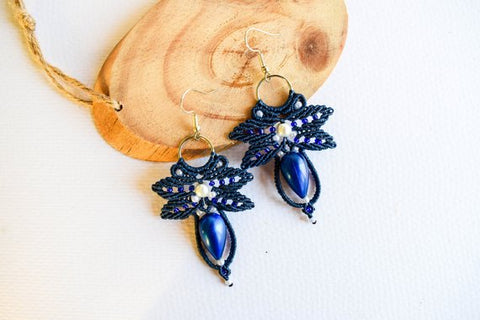 Blue Macrame Leaf Teardrop  Earrings
