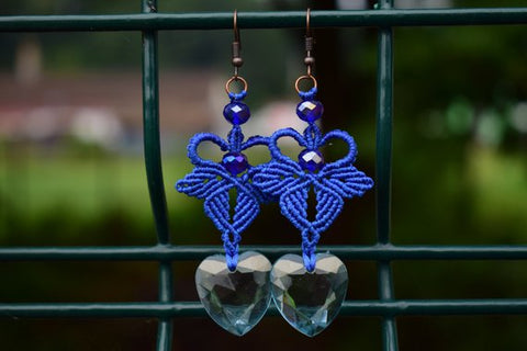 Blue Macrame Drop Crystal Earrings