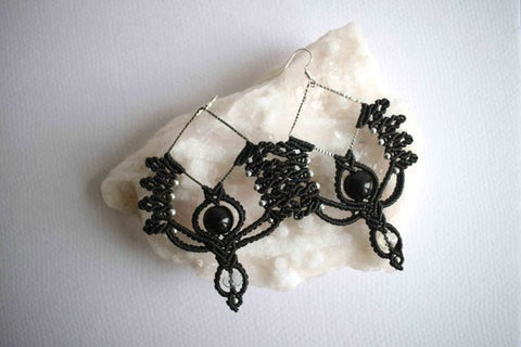 Black Macrame Elegant Earrings