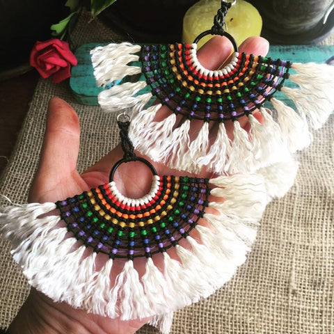 Macrame Rainbow Super Fringe Hoop Earrings