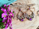 Majestic Purple Macrame Drop Earrings