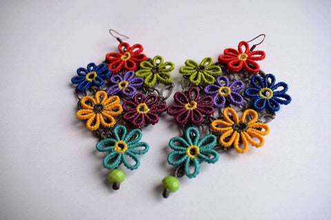 Floral Cluster Macrame Earrings