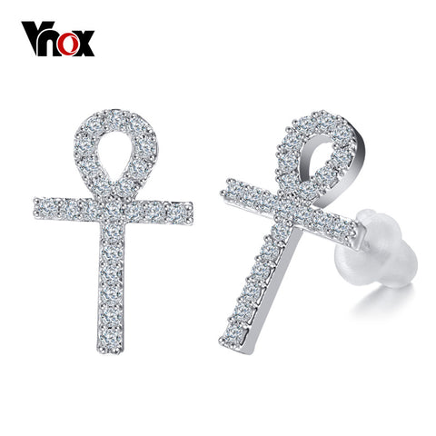 Vnox Bling CZ Stone Stud Earrings for Women Ankh Cross Earrings with 925 Sterling Silver Ear needle Accessories