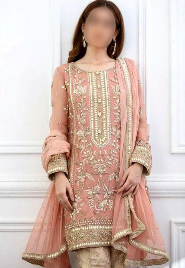 Net Embroidered Suit Replica Suits Atif Riaz Free Size Pink Net