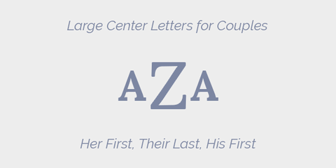Large Center Letter for Couples Grey Monogram Guidelines