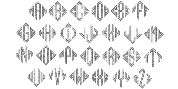 Natural Diamond Embroidery Font