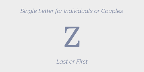 Single Letter for Individuals or Couples Grey Monogram Guidelines