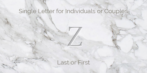 Single Letter for Individuals or Couples Engraving Guidelines