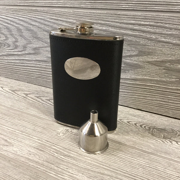 Black Leather Flask with Silver Engraved Plate