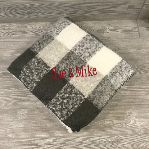 Blanket, Plaid Mohair Throw with Sherpa Lining, Gray and Cream Plaid