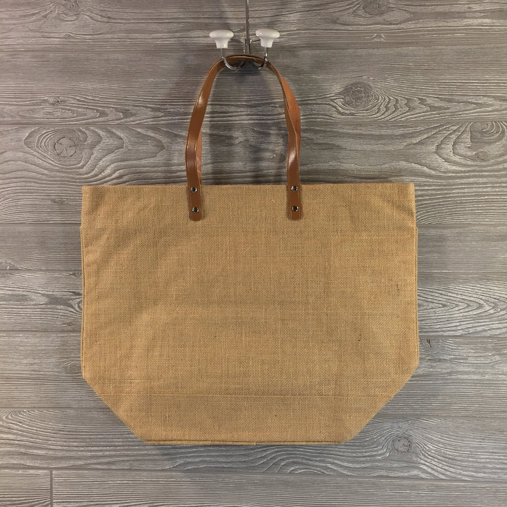 Jute Tote, Burlap with Zippered Top and Leather Handles, 6 Colors