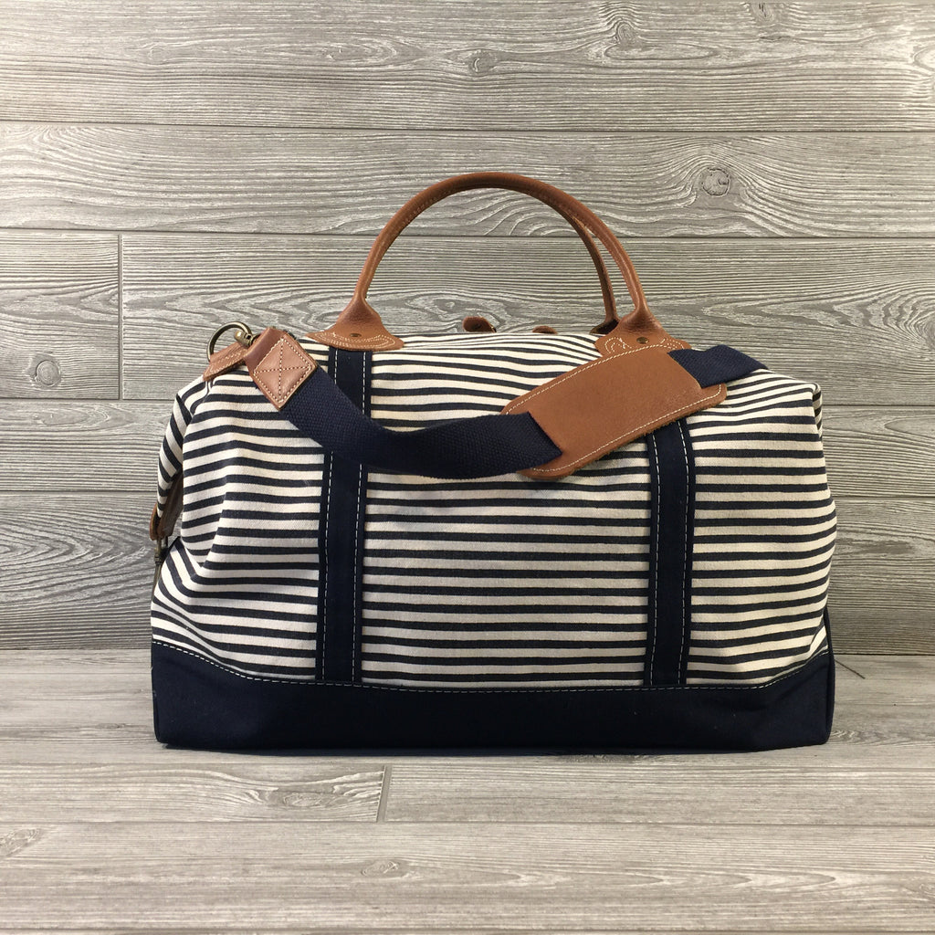 Weekender Navy Striped Canvas Bag, Navy Trim and Leather Handles