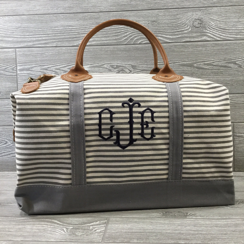 Weekender Gray Striped Canvas Bag, Gray Trim and Leather Handles