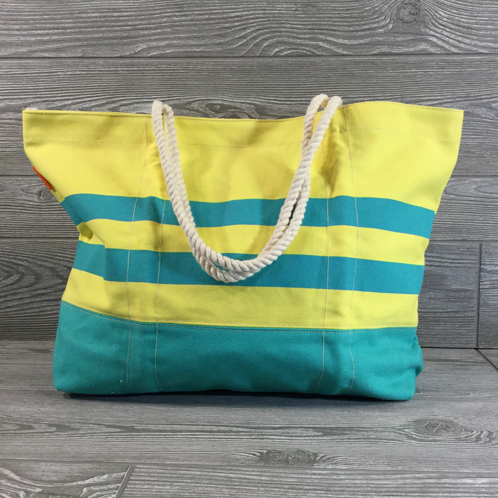 Canvas Tote, Rope Handles, Turquoise And Yellow, Snap Closure