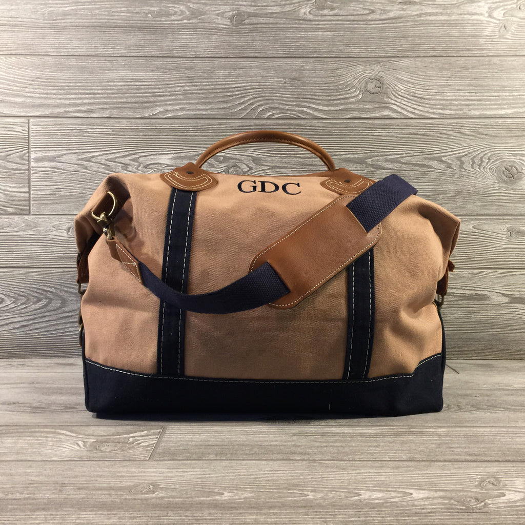 Weekender Tan Canvas Bag, Navy Trim and Leather Handles