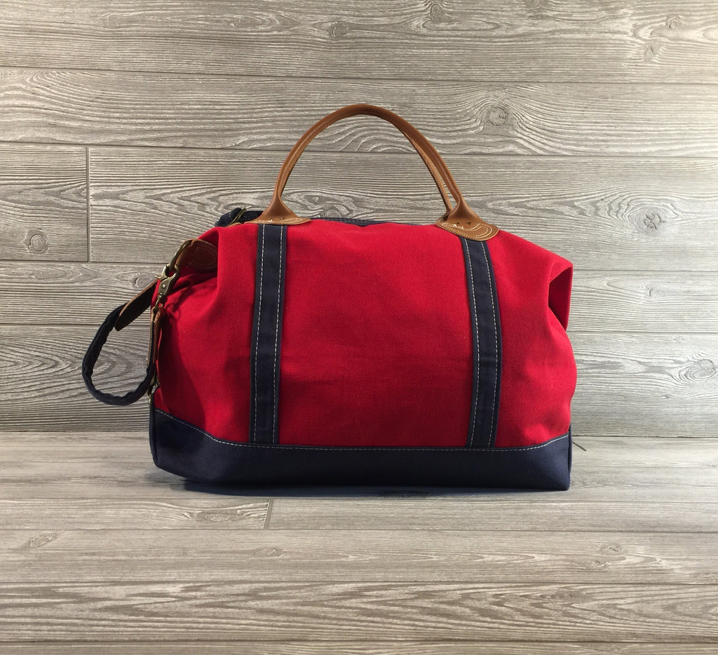 Weekender Red Canvas Bag, Navy Trim and Leather Handles
