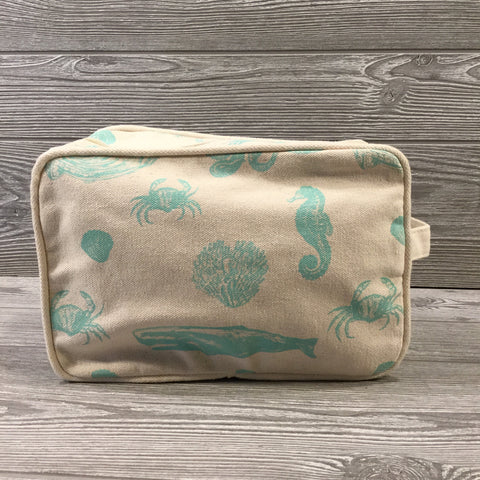 Makeup Bag, Canvas Turquoise Sea Life, Exterior Zipper