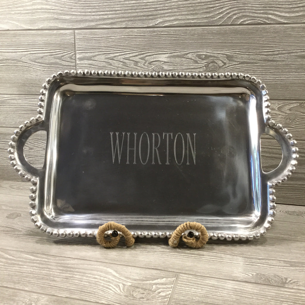 Beaded Silver Platter with Handles, Rectangle