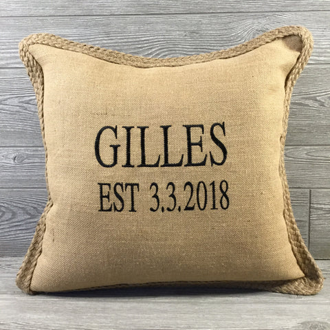 Burlap Custom Pillow with Braided Trim