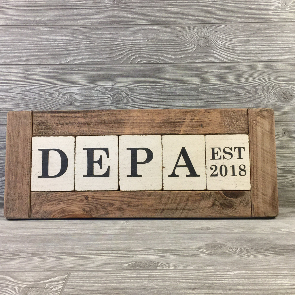 3824f994ac909 Barn Wood Sign, Custom Name Blocks with Frame