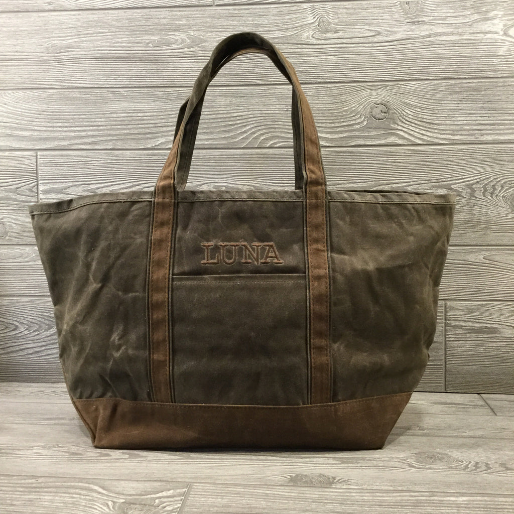 Distressed Waxed Canvas Boat Tote, Olive with Brown Trim