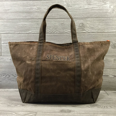Distressed Waxed Canvas Boat Tote, Brown with Olive Trim