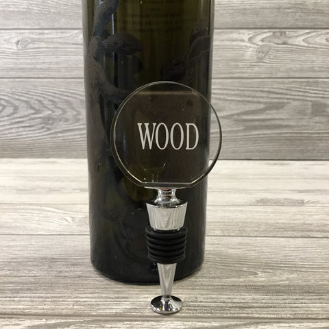 Engraved Wine Bottle Stopper, Glass Circular