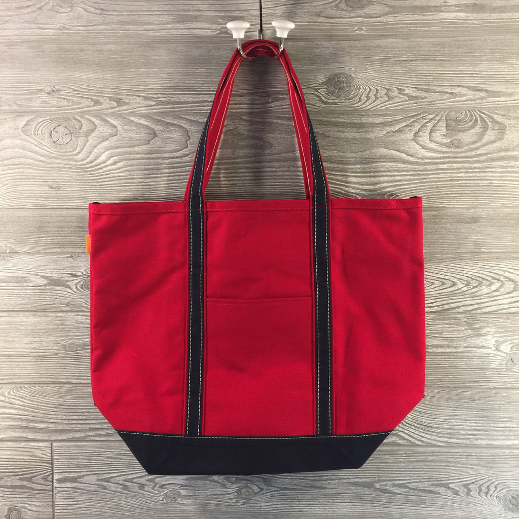 Boat Tote, Canvas with Zippered Top, Red with Navy Trim