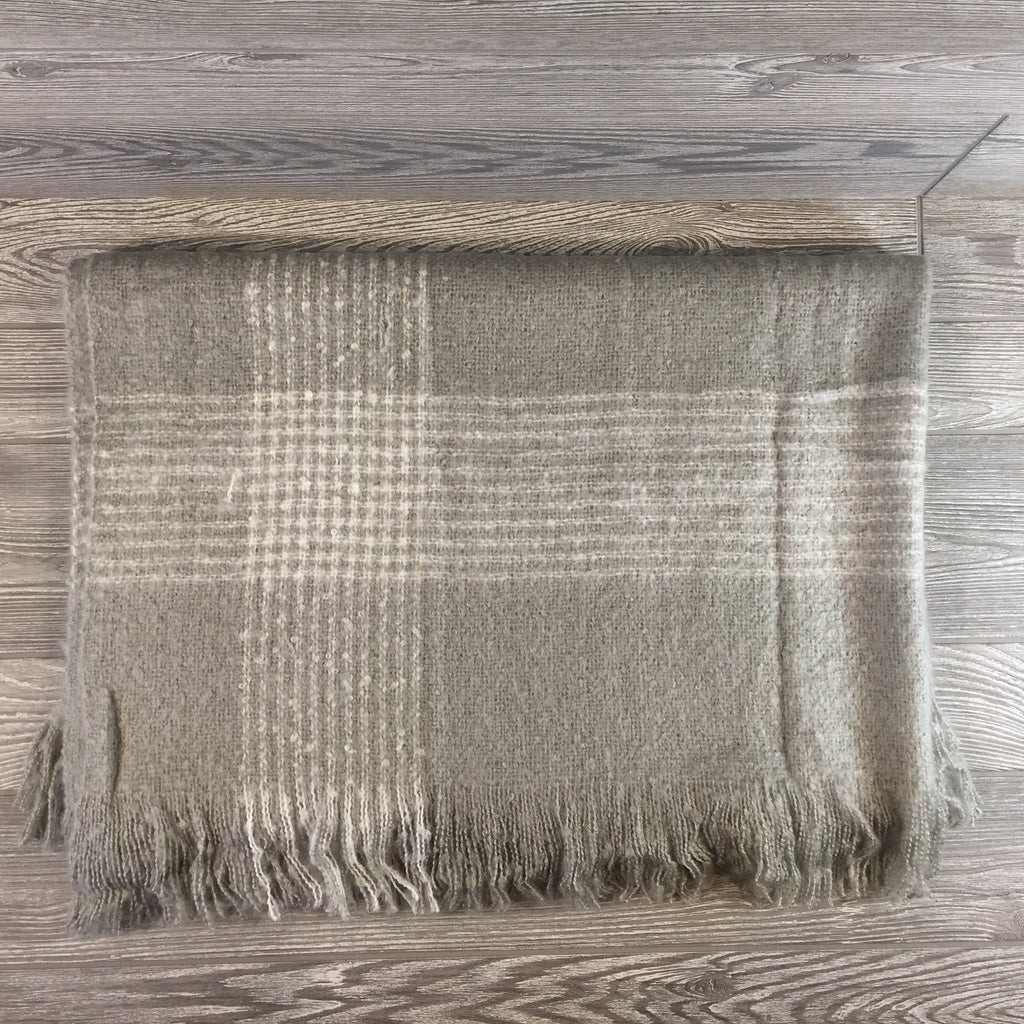Blanket, Mohair Throw, Gray With Cream Striped Border