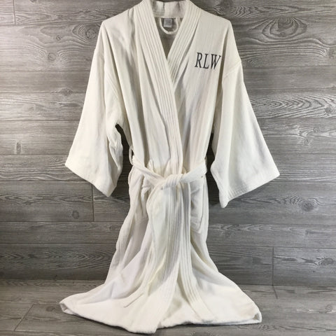 Robe, Kimono Style, White Terry Cotton and Velour