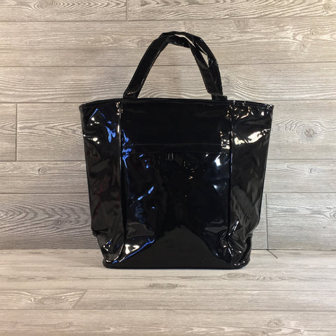 Cooler Bag, Black Patent with Zip Closure and Outside Pocket