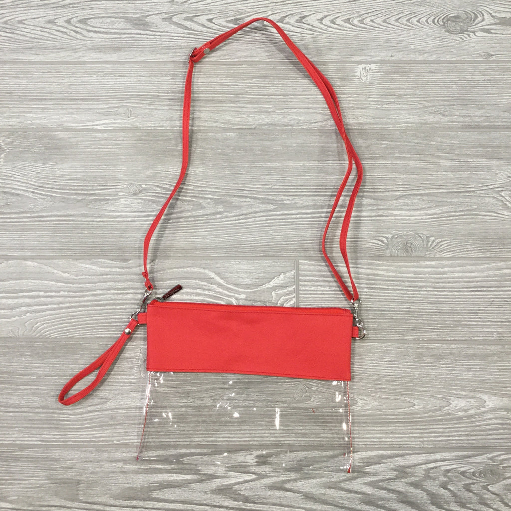Game Day Clear Purse, Crossbody Strap, Wristlet, Red