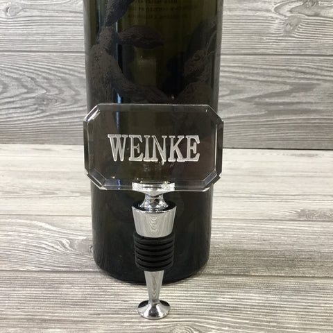 Engraved Wine Bottle Stopper, Rectangular Acrylic
