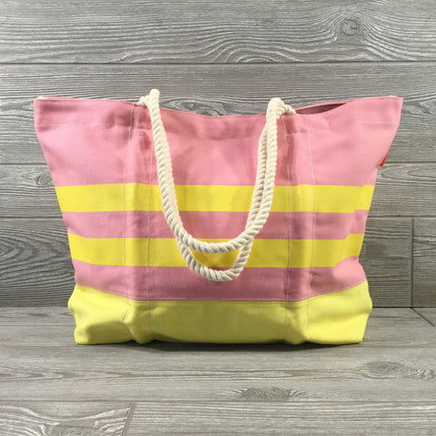 Canvas Tote, Rope Handles, Pink And Yellow, Snap Closure
