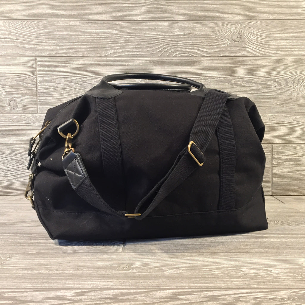 Weekender Black Canvas Bag with Black Leather Handles